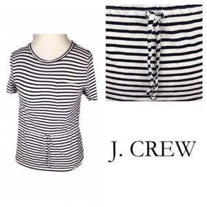 J. Crew Top with Navy Blue Stripes, Tie, & Pocket